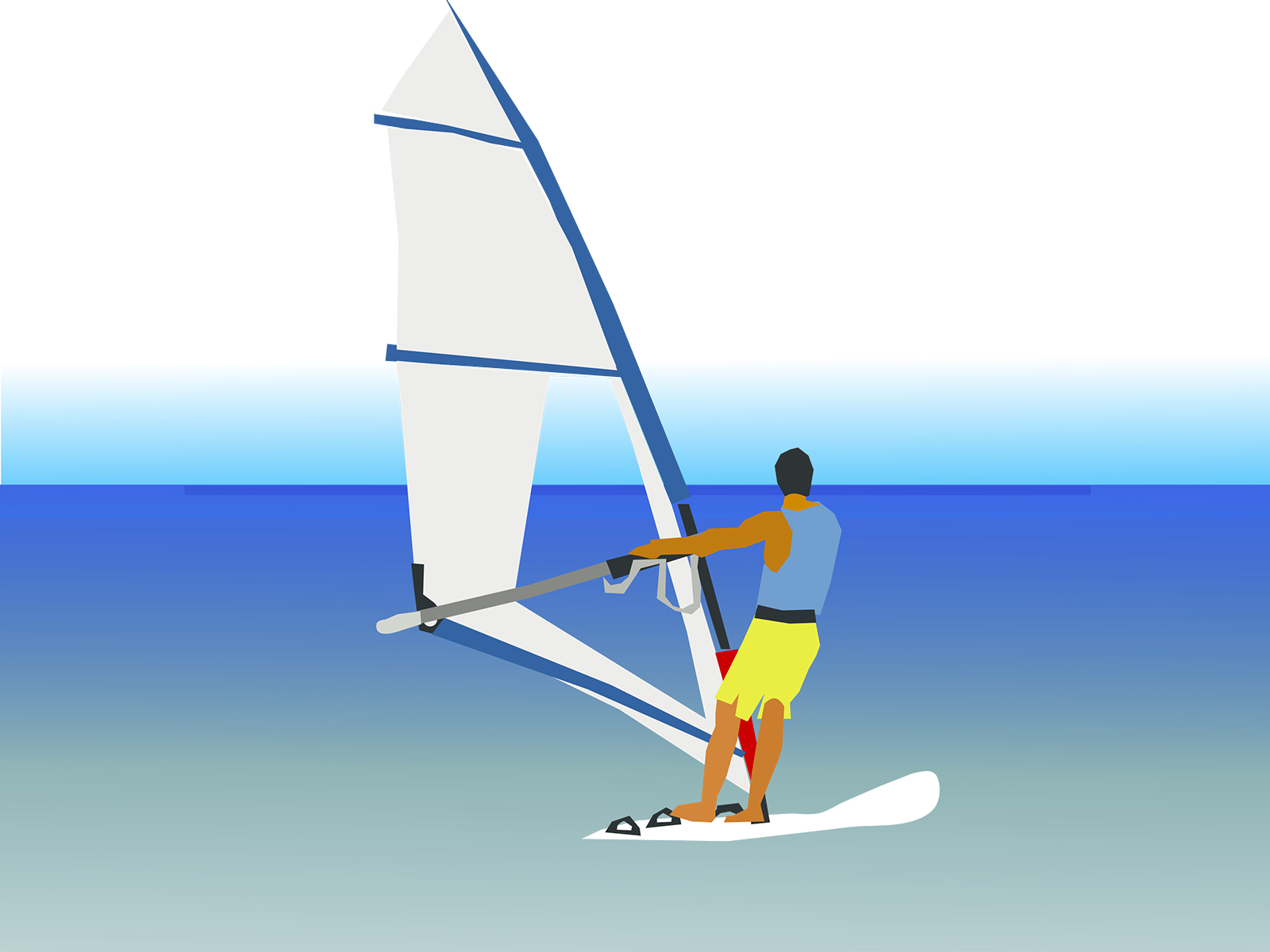 Windsurf on Beach PPT Backgrounds