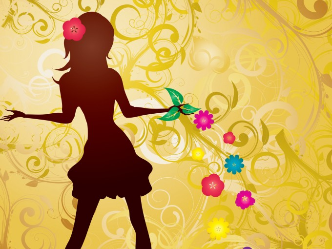Girl with Flowers PPT Backgrounds