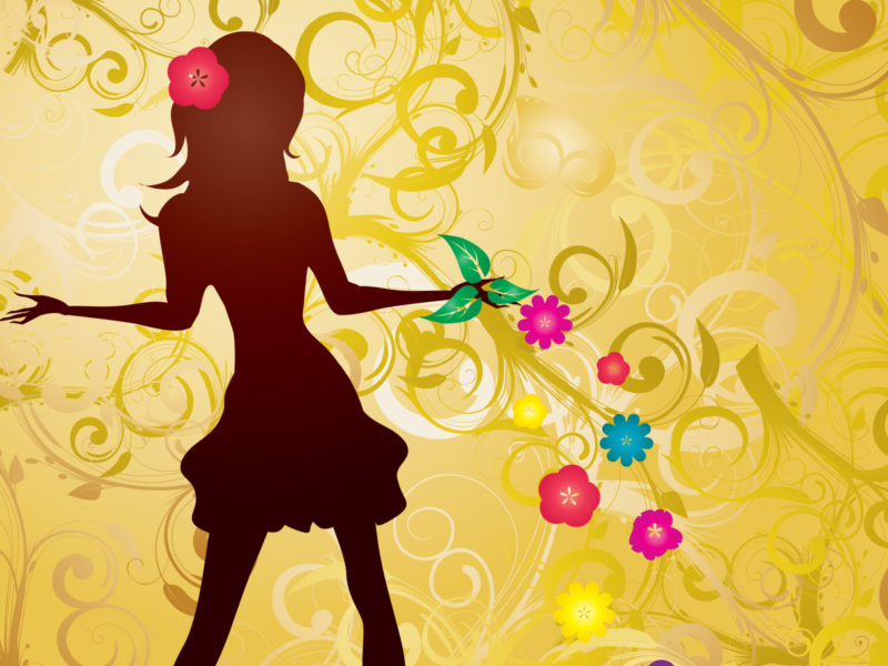 Girl with Flowers Powerpoint Background