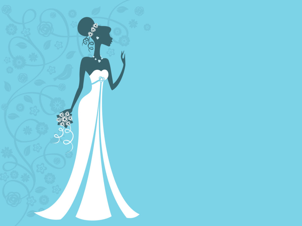 wedding bride ppt backgrounds - blue, holiday, white templates, Powerpoint templates