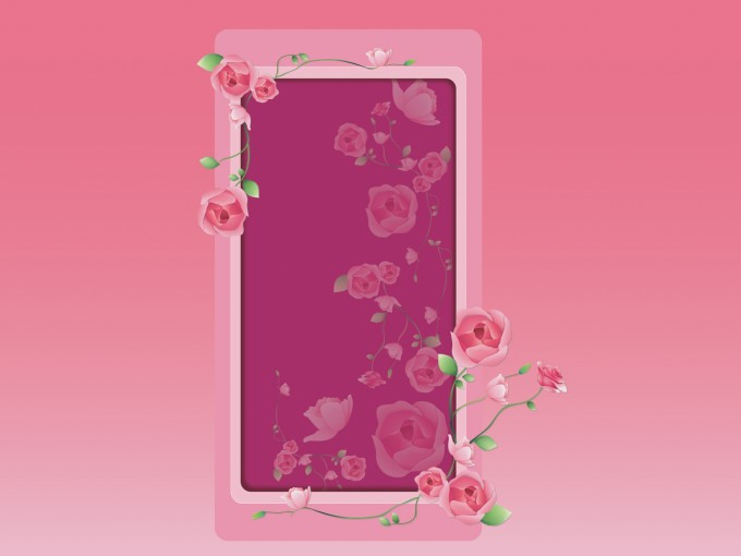 Pink Roses Frame PPT Backgrounds