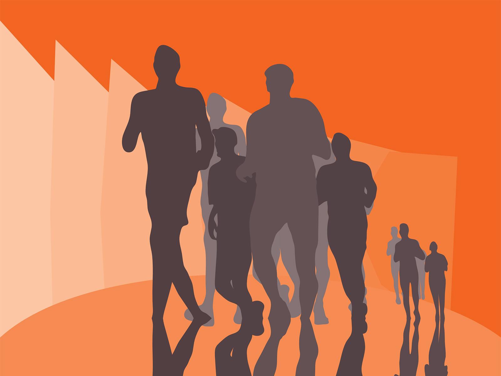 running marathon backgrounds orange sports templates