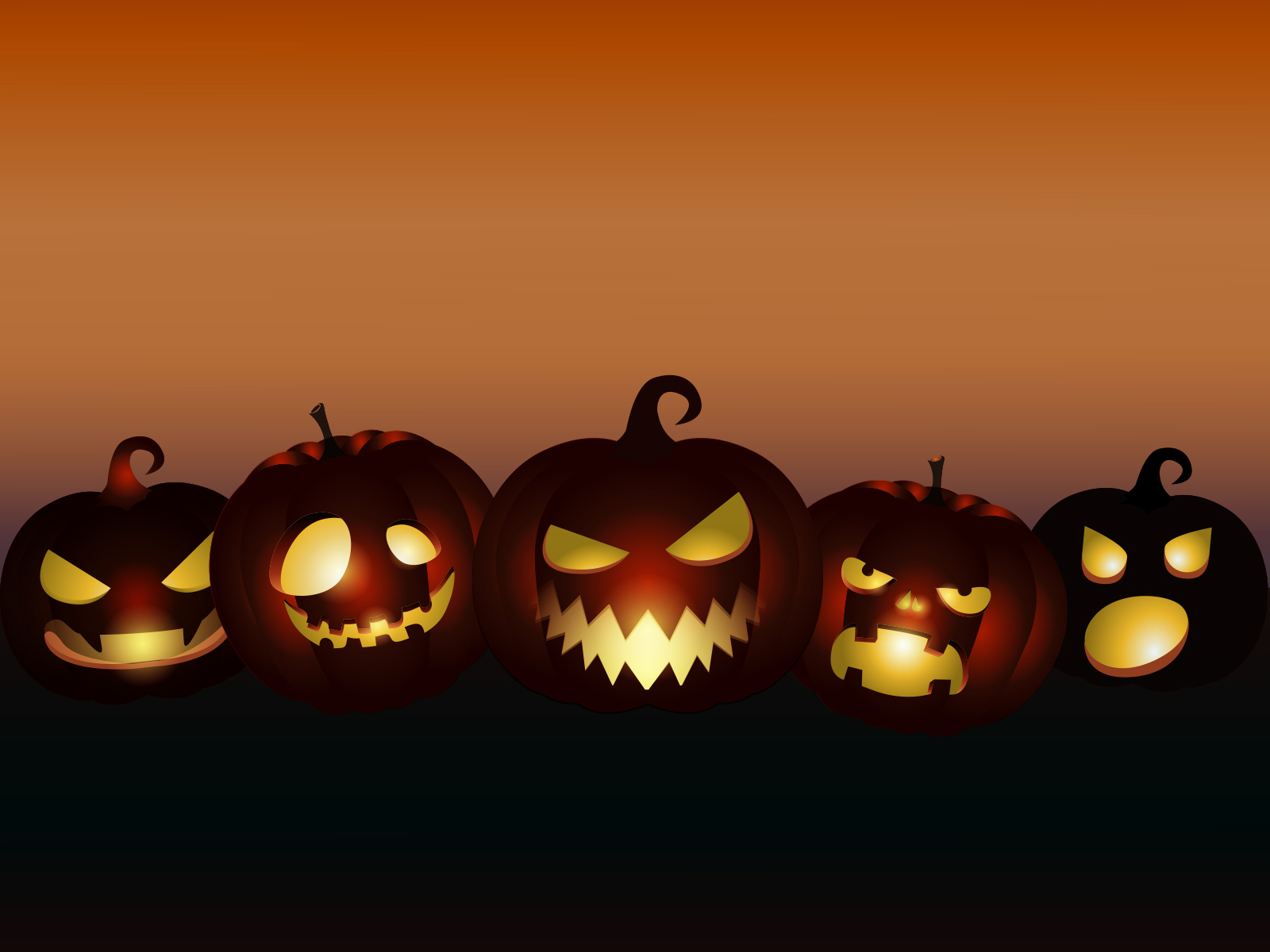 Evil Pumpkins Halloween Ppt Backgrounds Black Cartoon