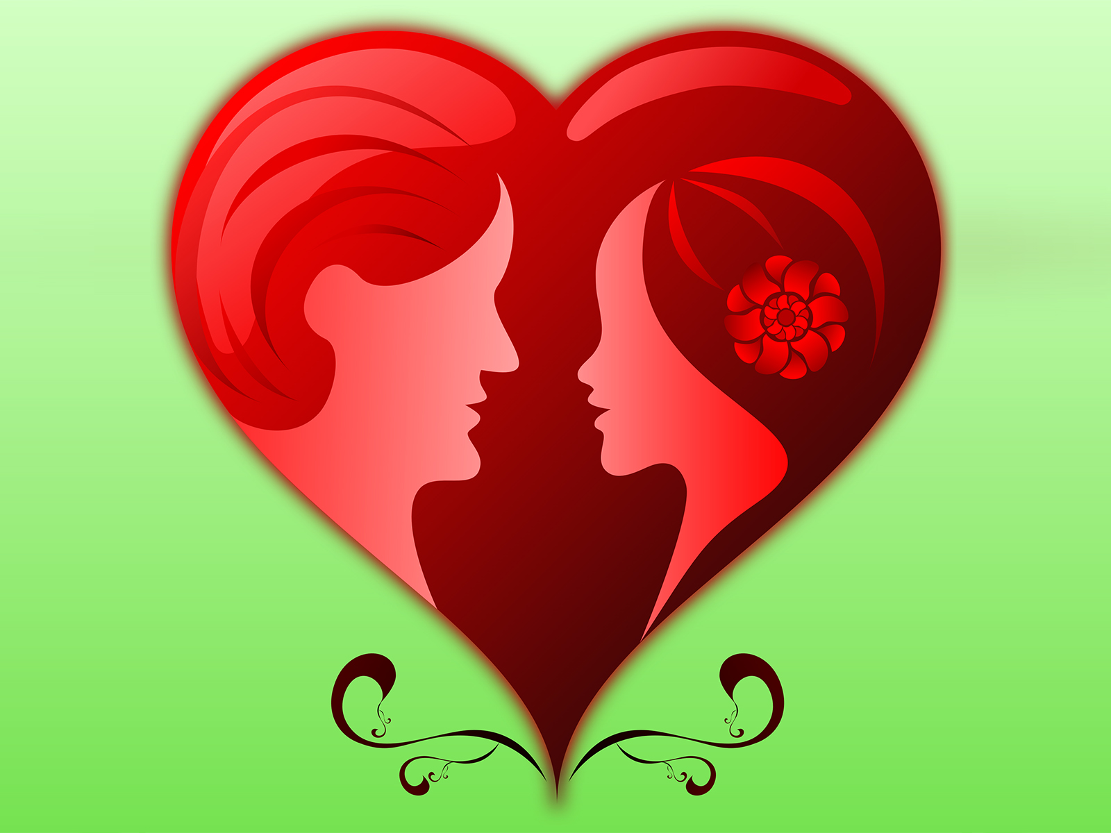 Romance Love Wedding Backgrounds | Green, Love, Red