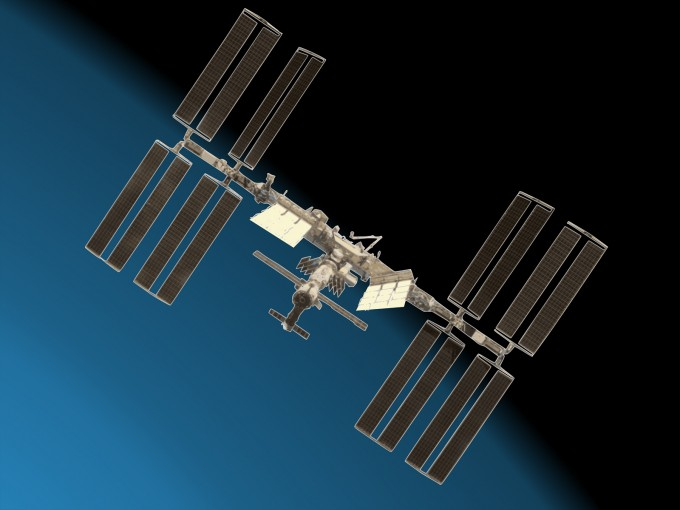 Space Station with Earth PPT Backgrounds