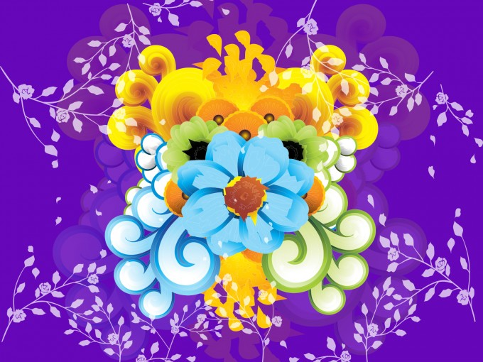 Purple Flowers PPT Backgrounds