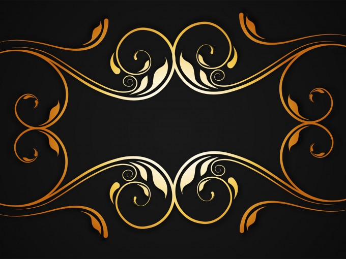 Golden Floral Border PPT Backgrounds