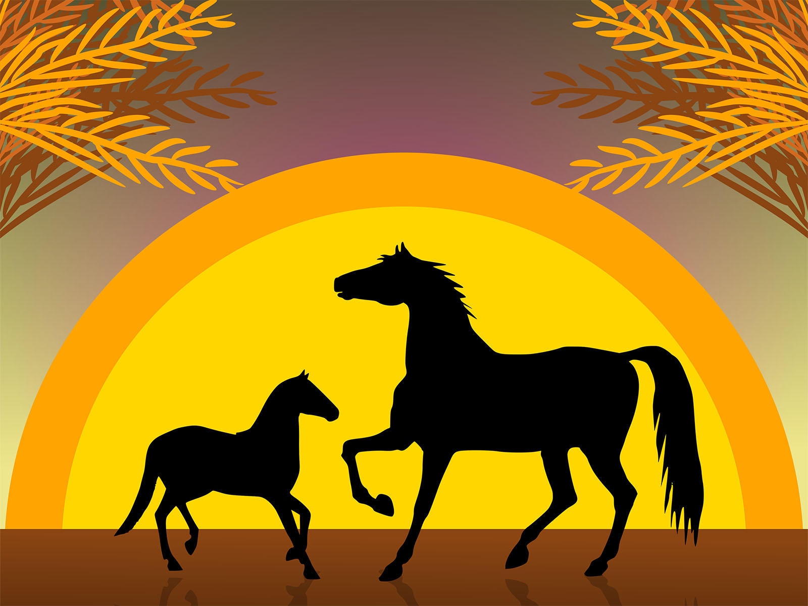horses at sunset backgrounds animals templates free