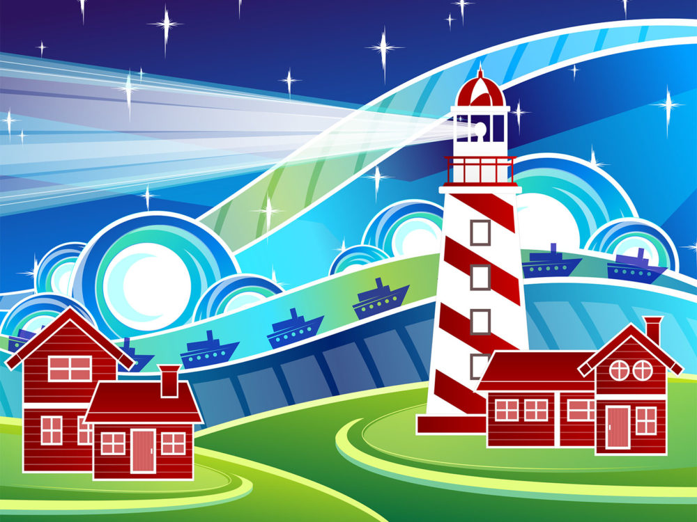 Stylised Lighthouse PPT Backgrounds