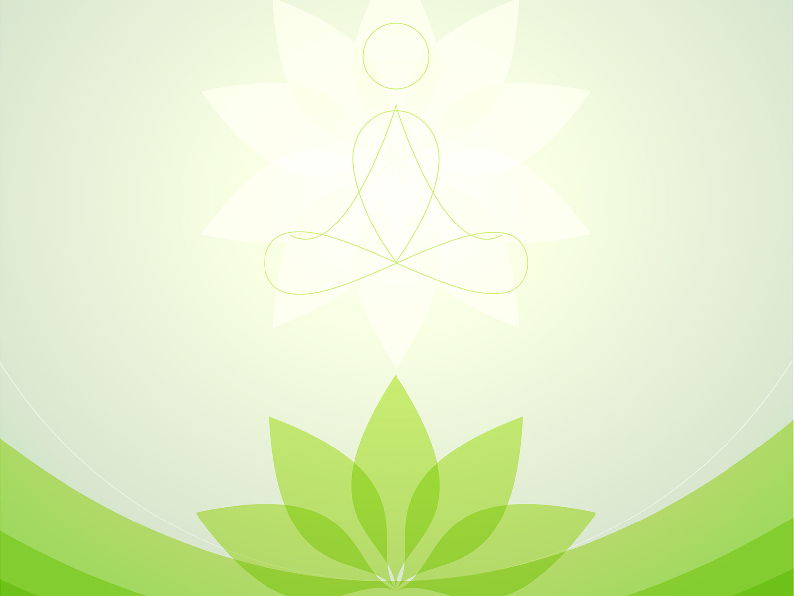 yoga center ppt backgrounds - green, sports, white templates - ppt, Presentation templates