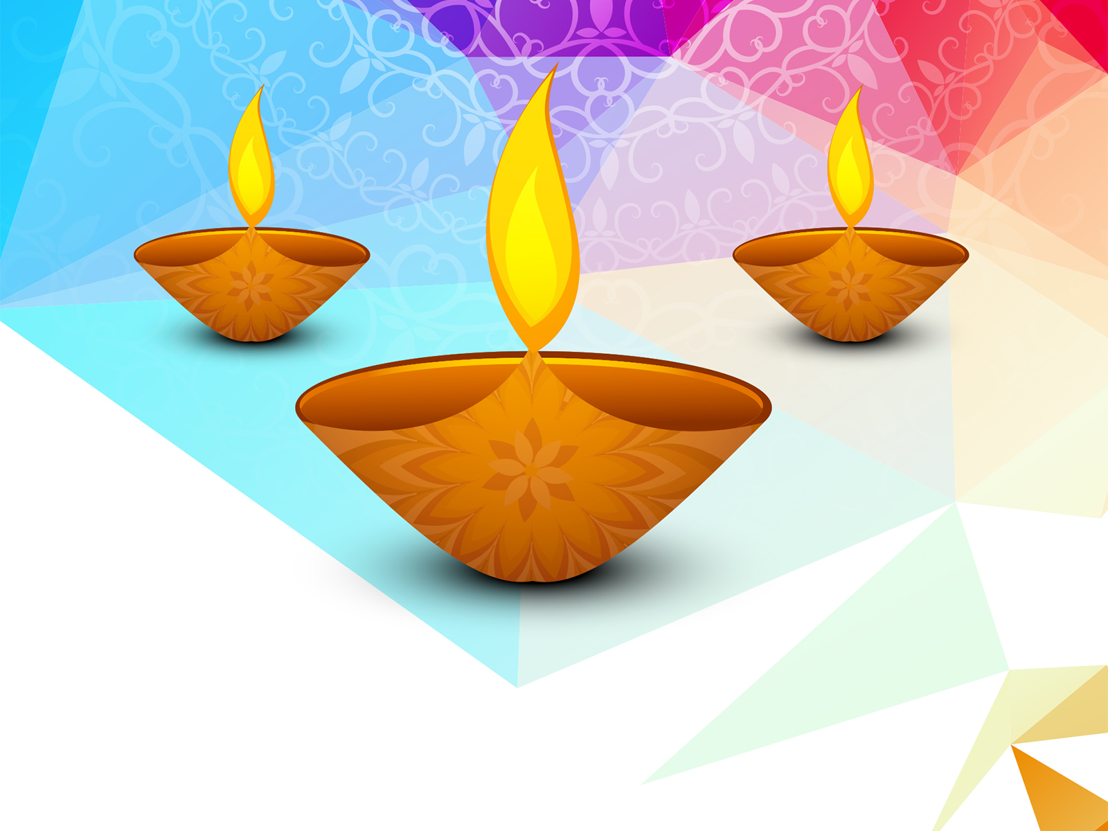 Diwali Greetings Backgrounds Holiday Orange White Yellow