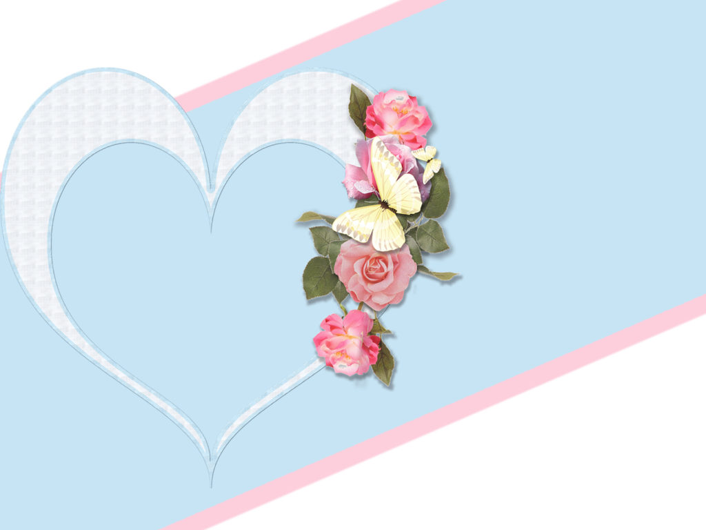 Rose Frame Flowers Backgrounds Blue Flowers Pink White