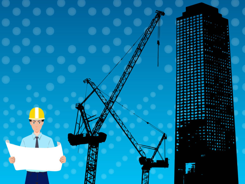 Architect and Skyscraper Construction PPT Background