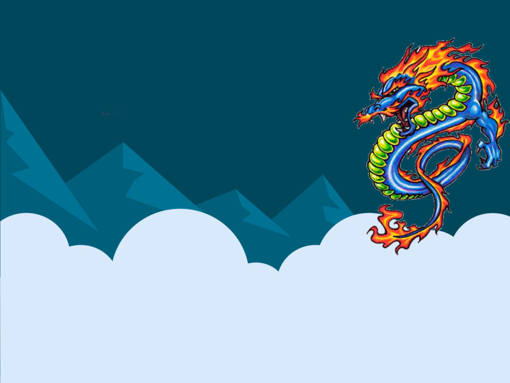 chinese dragon ppt backgrounds - animals, blue, green, red, white, Powerpoint templates