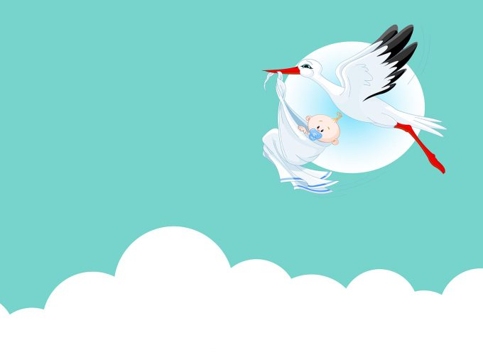 Cute Baby with Stork PPT Backgrounds