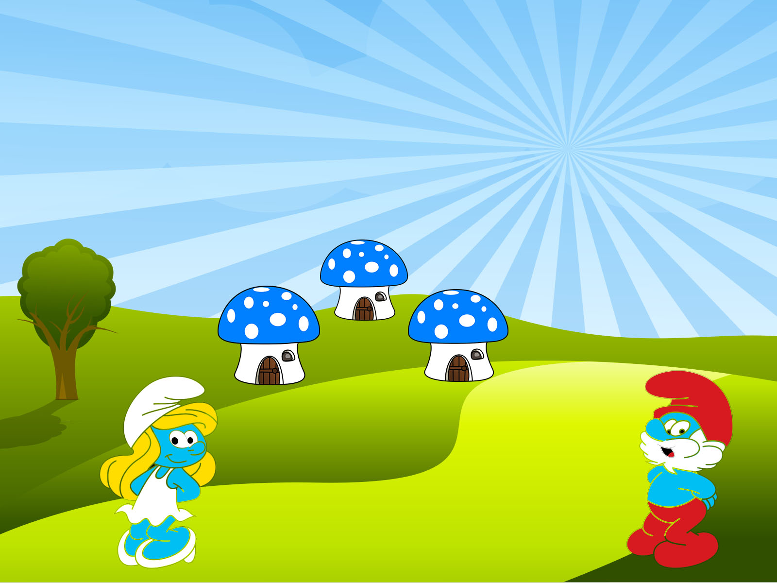 cute smurfs backgrounds cartoon templates free ppt grounds and powerpoint. Black Bedroom Furniture Sets. Home Design Ideas