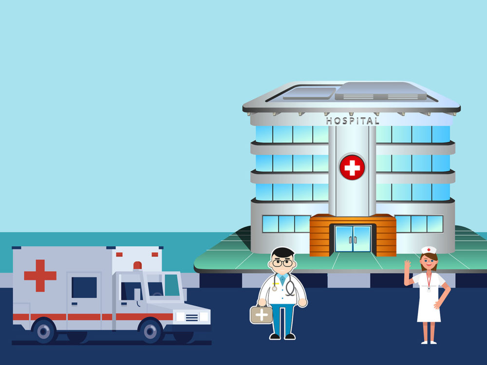 Doctor And Nurse At The Hospital Ppt Backgrounds Blue