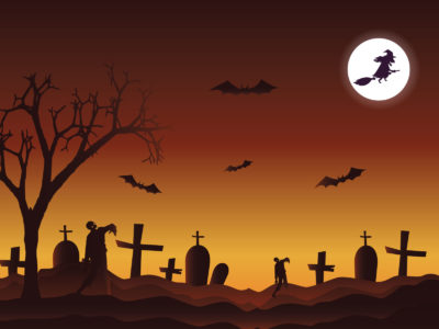 Happy Halloween in the Cemetery PPT Background