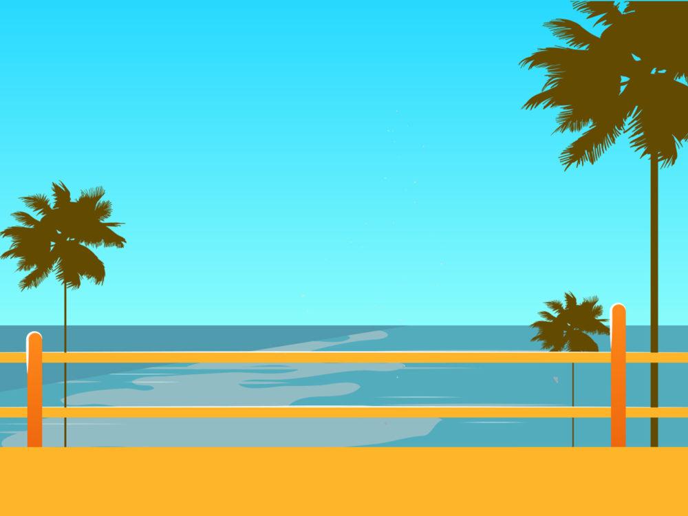 Hawaii Beach Backgrounds Blue Green Travel Yellow Templates