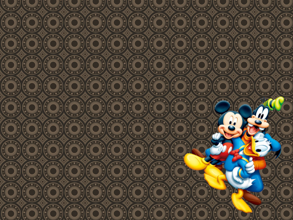 mickey mouse ppt backgrounds - blue, brown, cartoon, white, yellow, Modern powerpoint