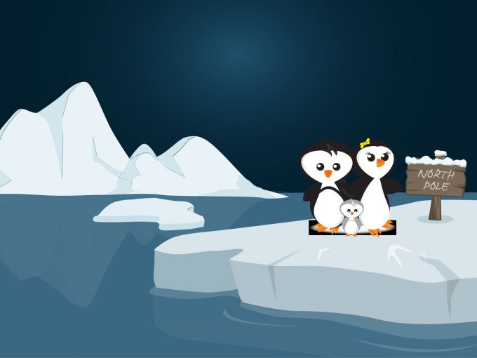 Penguins Family in the North Pole PPT Backgrounds