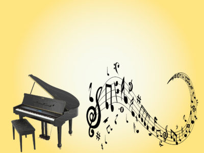 Piano and Treble Clef PPT Background