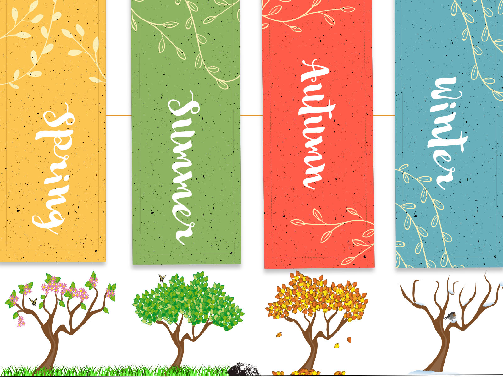 Season Of Trees Backgrounds Blue Green Multi Color