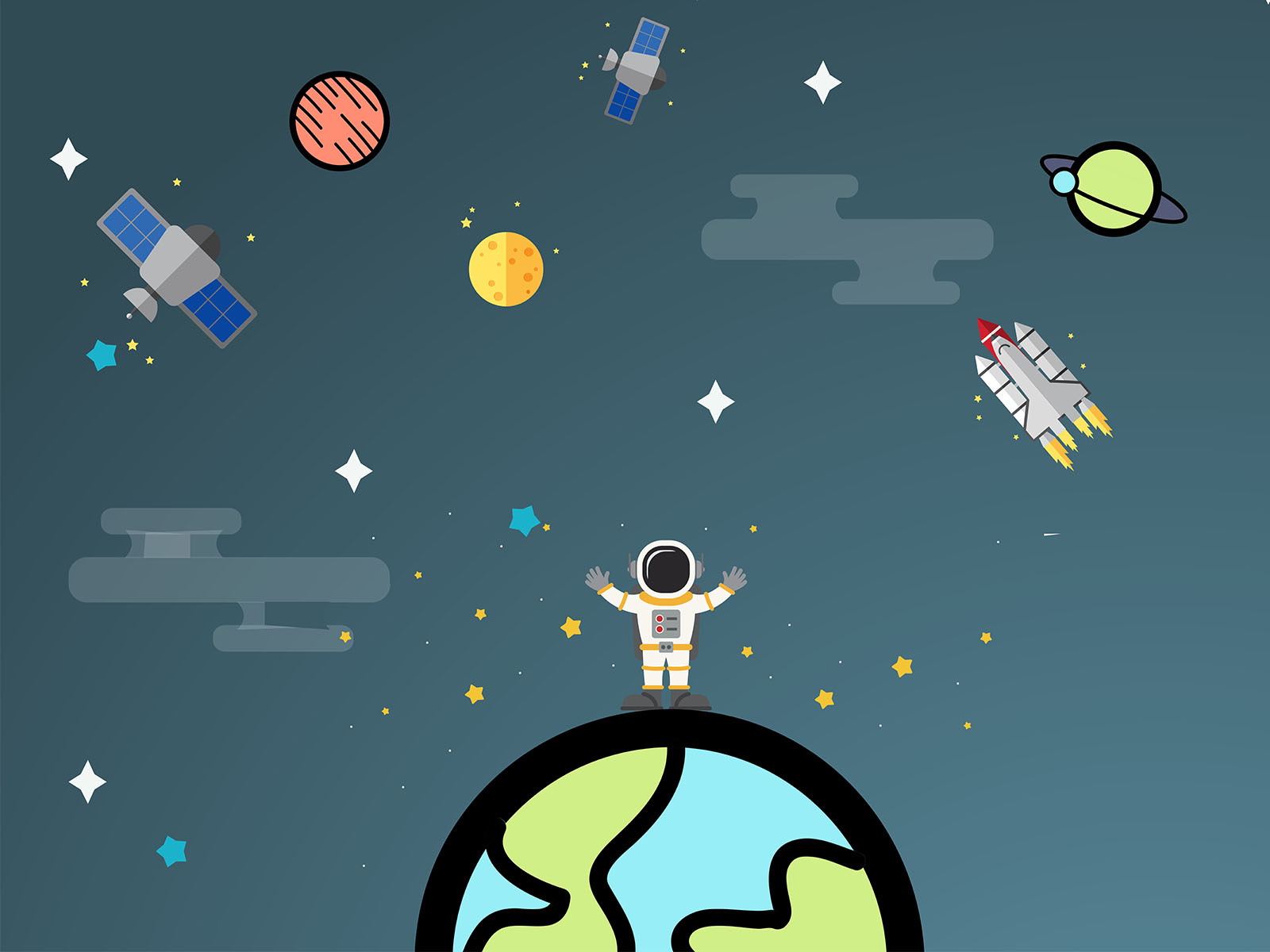 Space Adventure Time PPT Background