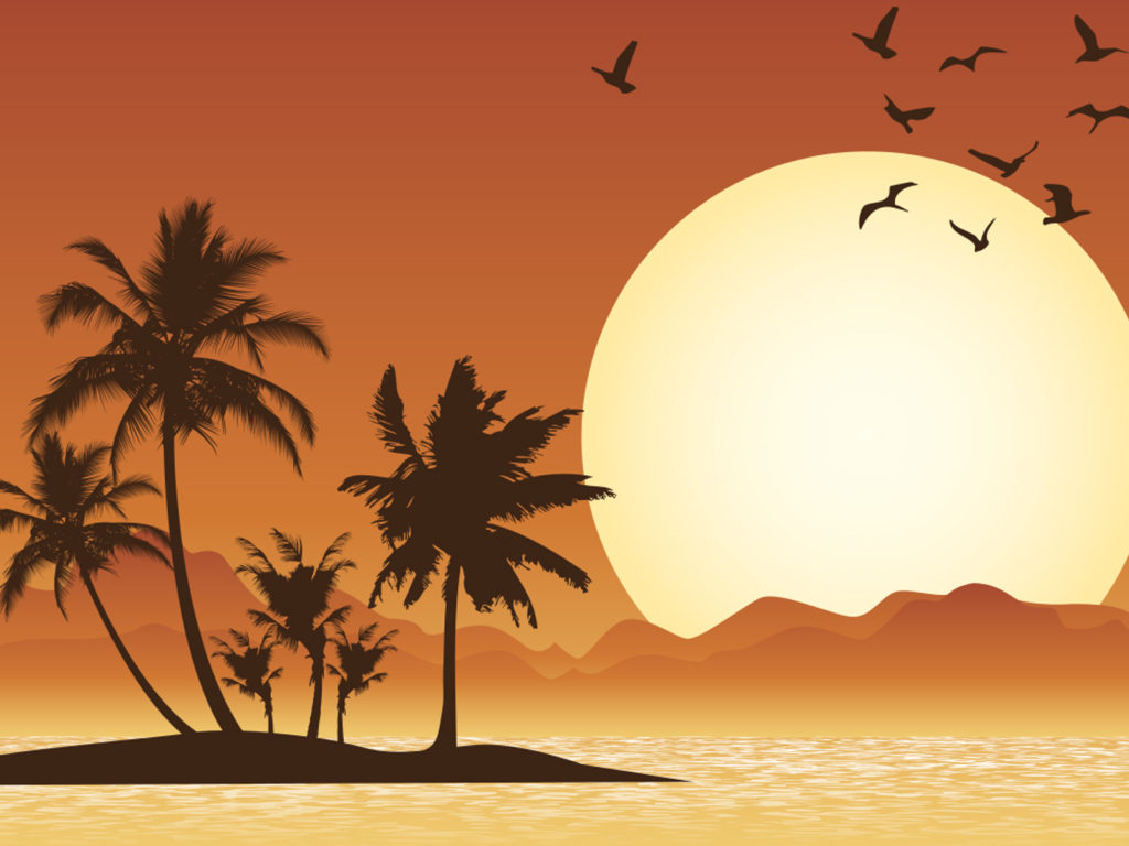 Tropical Scene Backgrounds Black Brown Travel Yellow