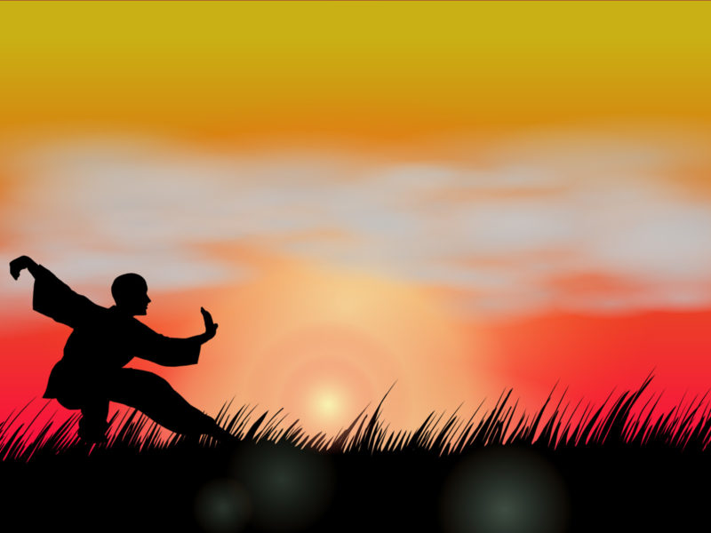 Wushu at Sunset Powerpoint Backgrounds