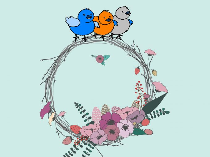 Birds on the Flowers PPT Backgrounds