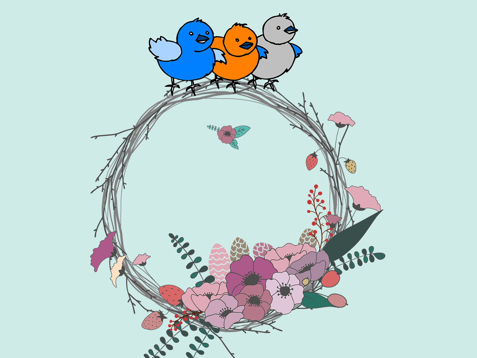 Birds on the Flowers PPT Templates