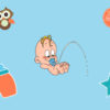 Cute Baby is Peeing PPT Backgrounds