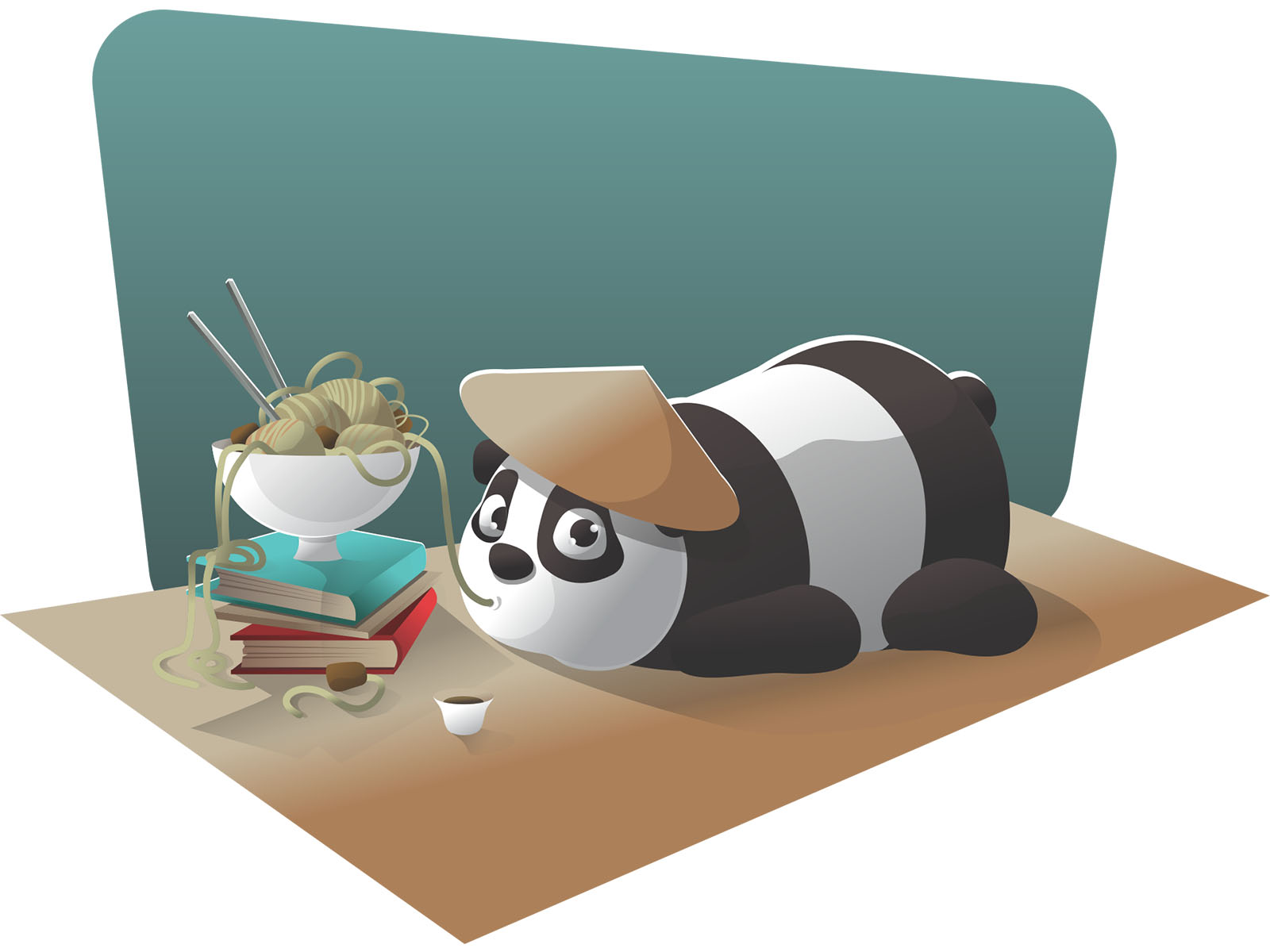 Cute Panda Eating Spaghetti PPT Backgrounds