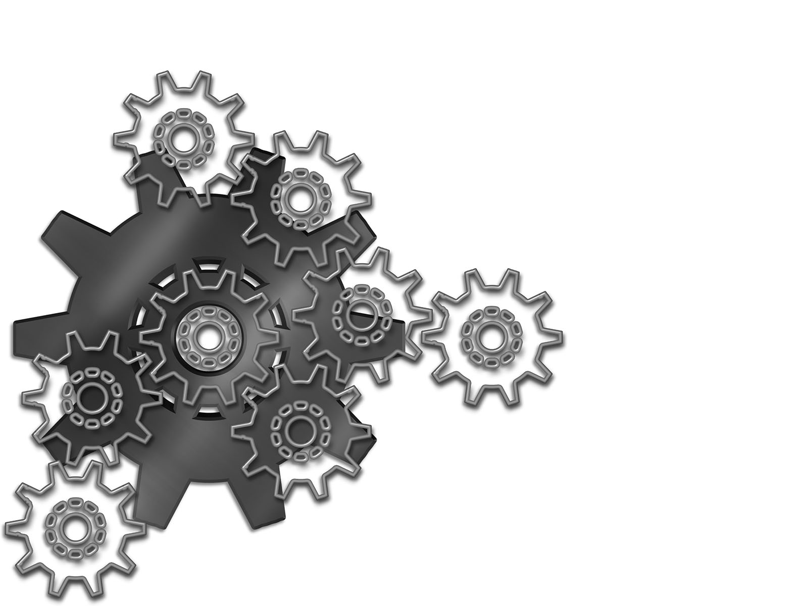 engineering gears ppt backgrounds - black, tools and devices, Powerpoint templates