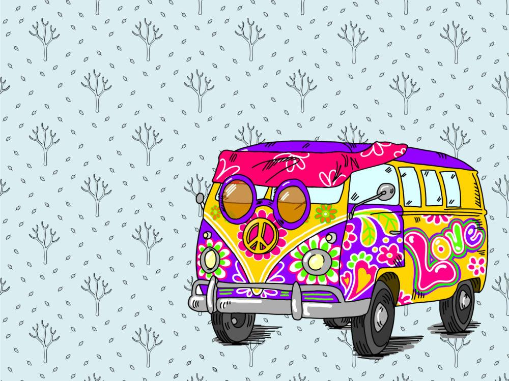 Hippie bus backgrounds blue pink purple transportation yellow hippie bus ppt backgrounds voltagebd Choice Image