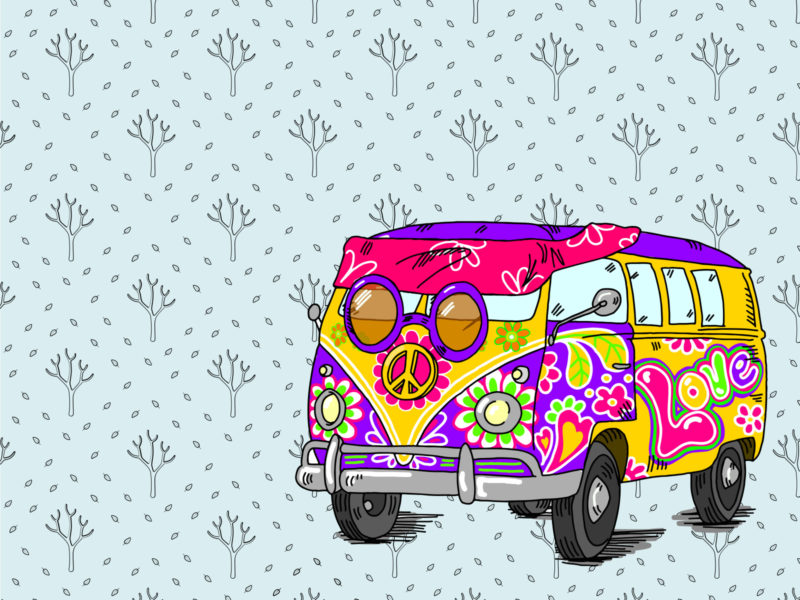 Hippie Bus PPT Backgrounds