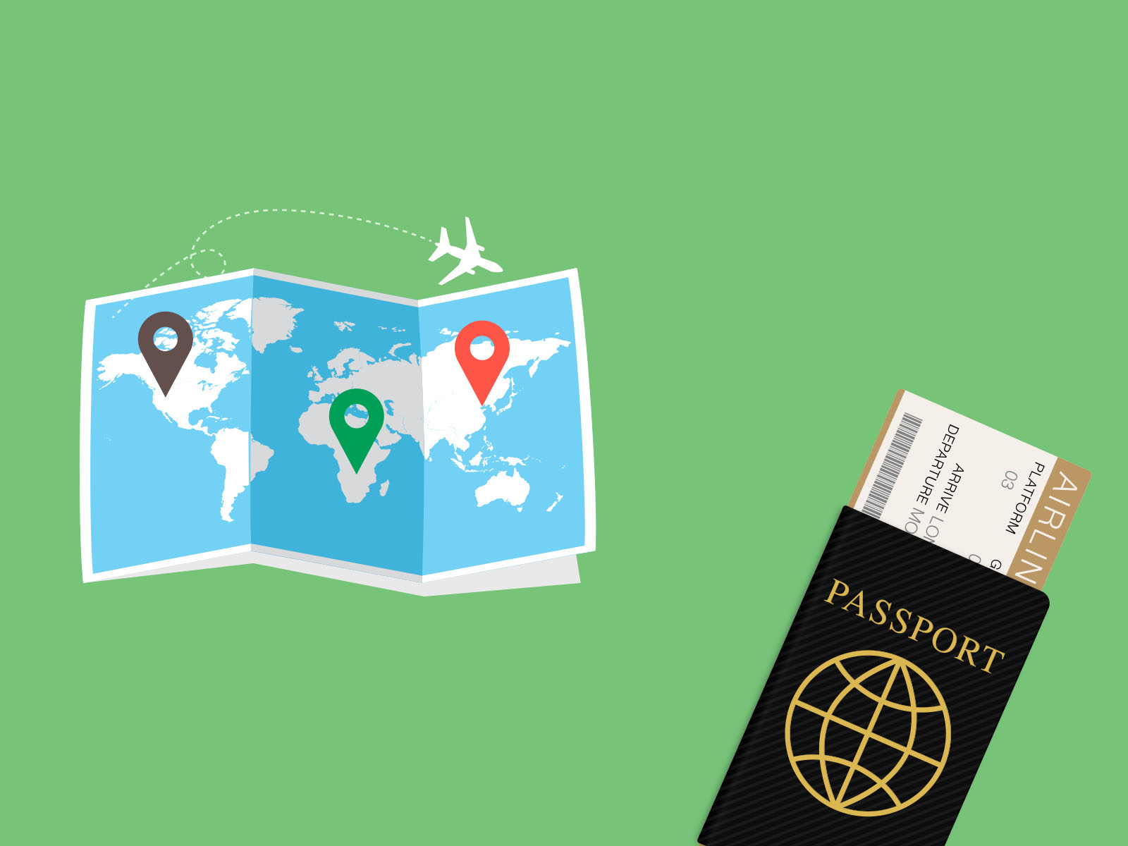 Passport and World Map PPT Backgrounds