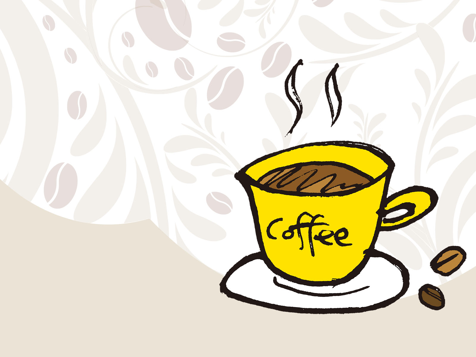 yellow coffee cup backgrounds brown foods drinks yellow templates free ppt grounds and. Black Bedroom Furniture Sets. Home Design Ideas