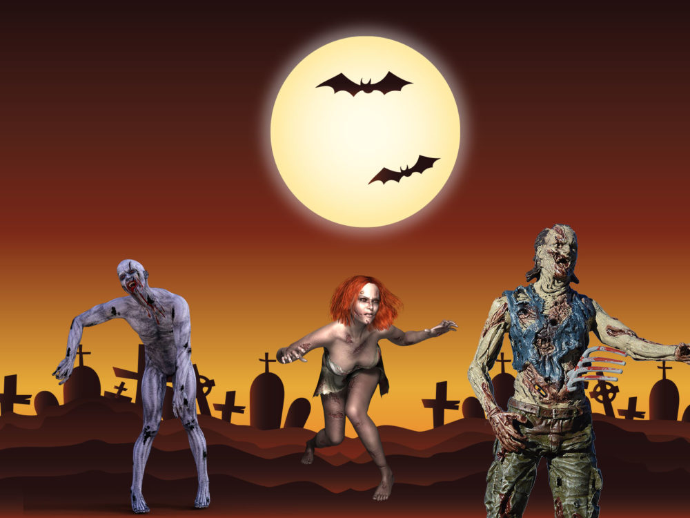 Zombies at tomb backgrounds cartoon multi color templates free zombies at tomb ppt backgrounds toneelgroepblik Images