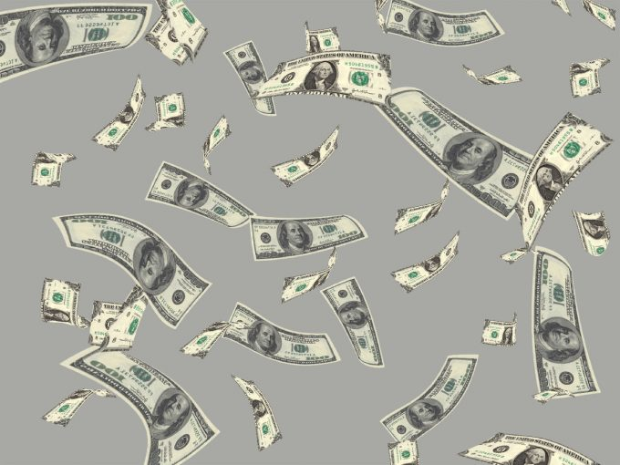 Flying Money Dollar PPT Backgrounds