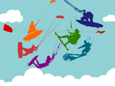 Flying with Colorful Kite PPT Backgrounds