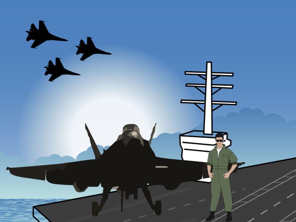 Aircraft Carrier and Pilot Powerpoint Templates