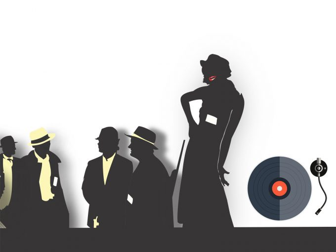 Music Gangsters Silhouettes PPT Backgrounds