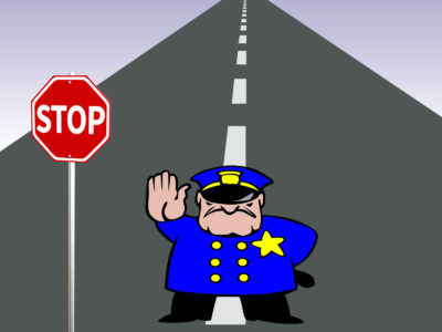 Policeman on the Road Powerpoint Templates
