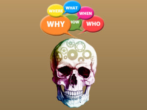 Skulls and Questions Powerpoint Backgrounds