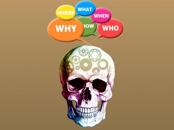 Skulls and Questions PPT Backgrounds
