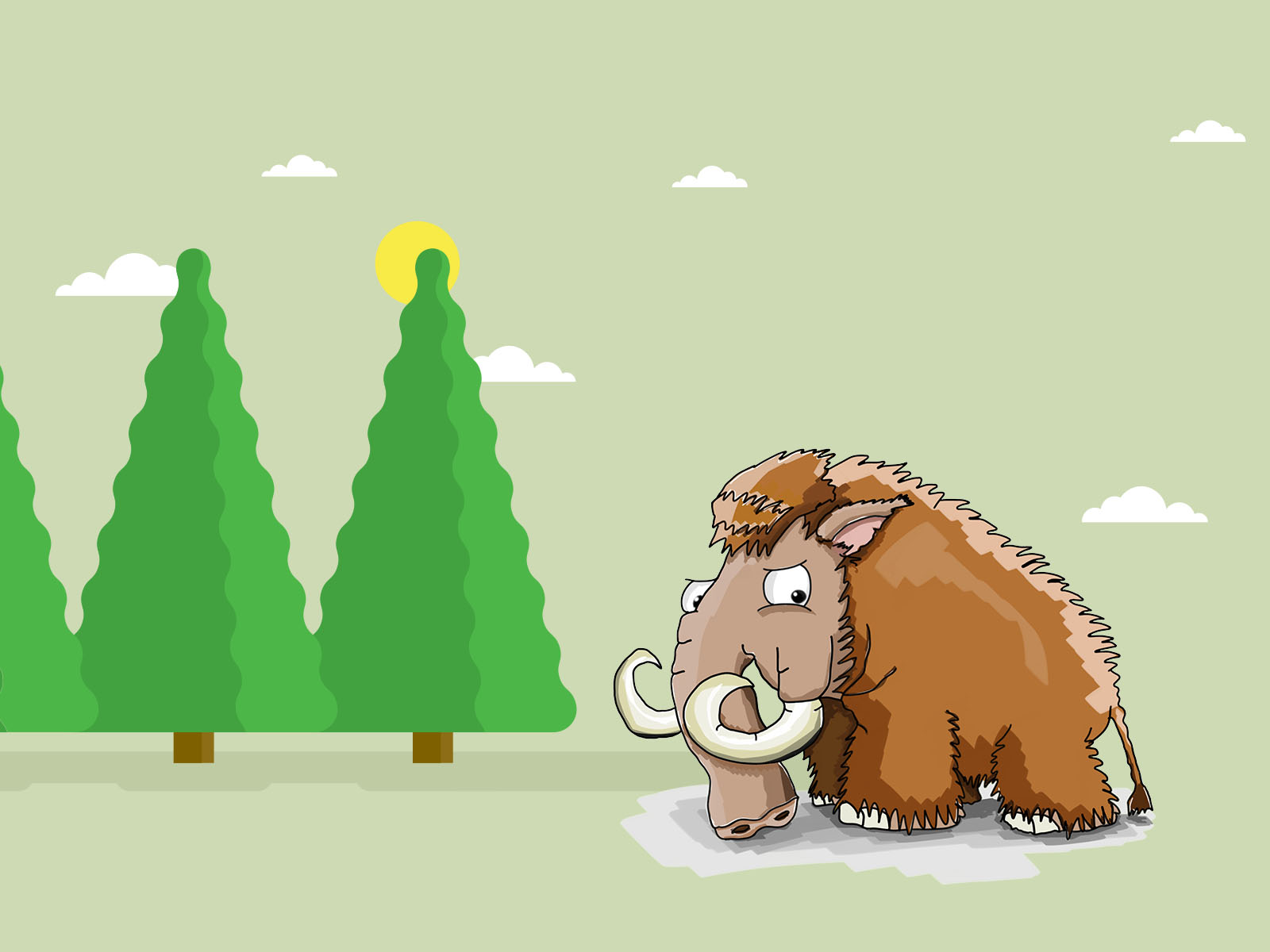 Mammoth in the Jungle Backgrounds | Animals Templates | Free PPT Grounds and PowerPoint