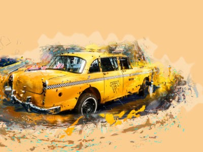 Yellow Taxi Powerpoint Templates