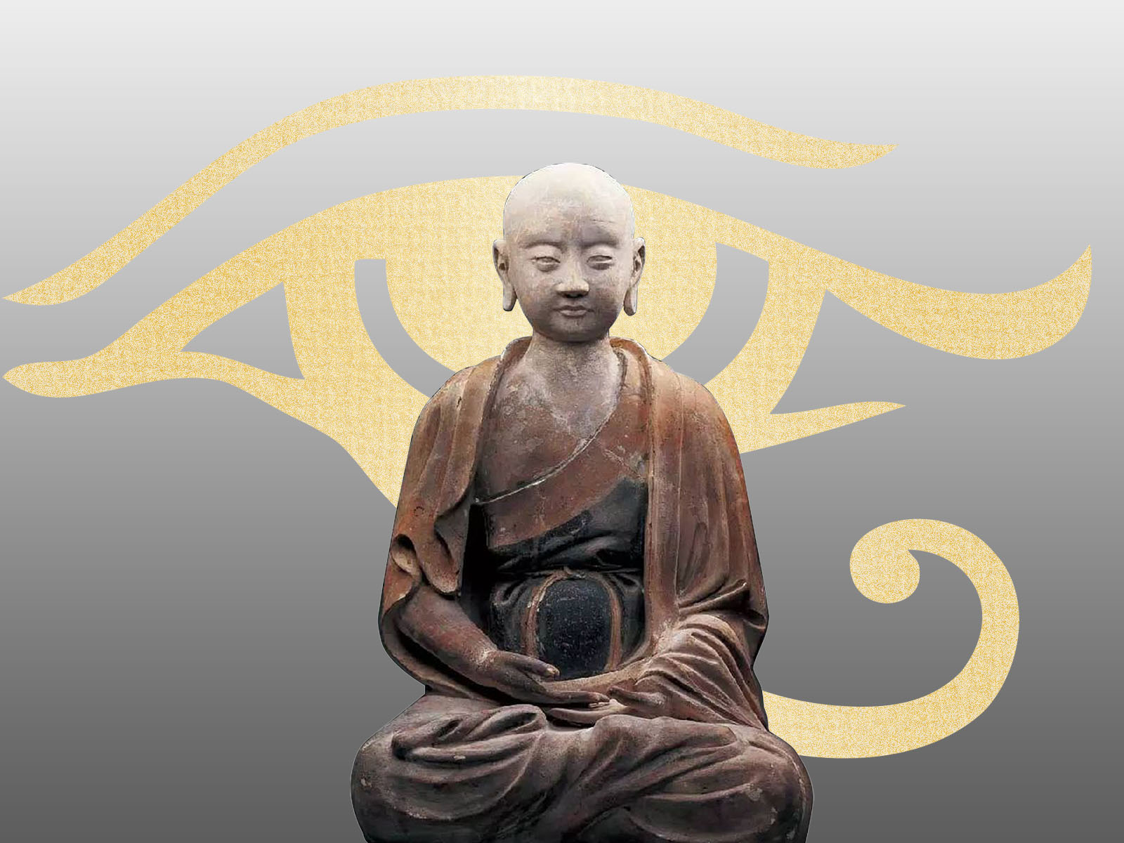 Ancient Buddha Sculpture Powerpoint Templates